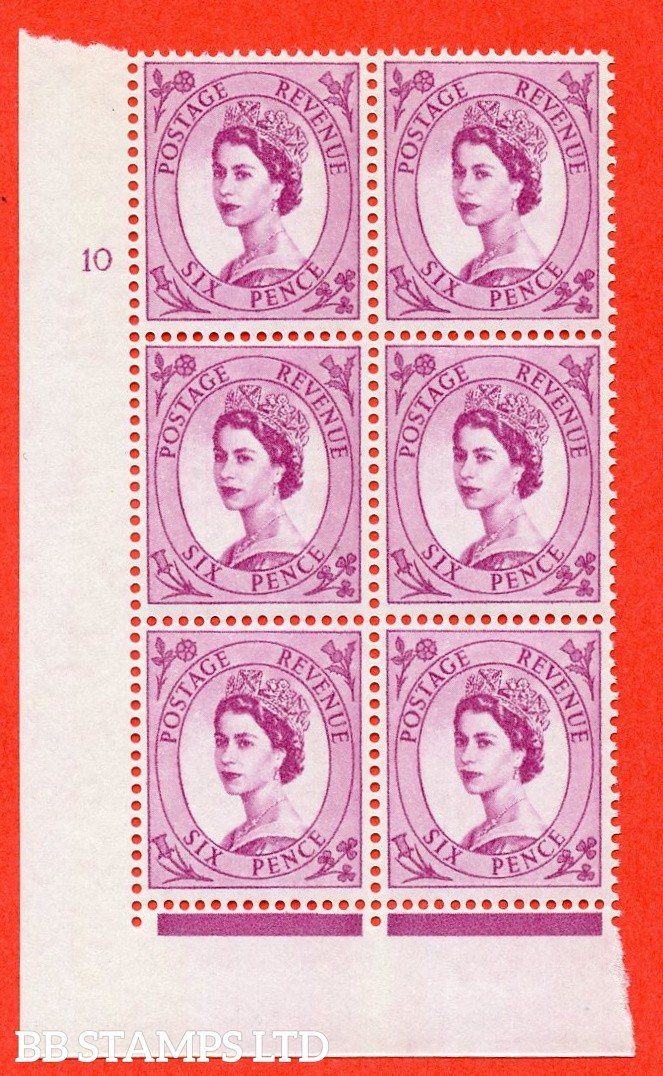 "SG.617. S117. 6d Deep Claret. A fine mounted mint "" cylinder 10 no dot "" control block of 6 with perf type FL (I/E). violet Phosphor 9½mm Band."