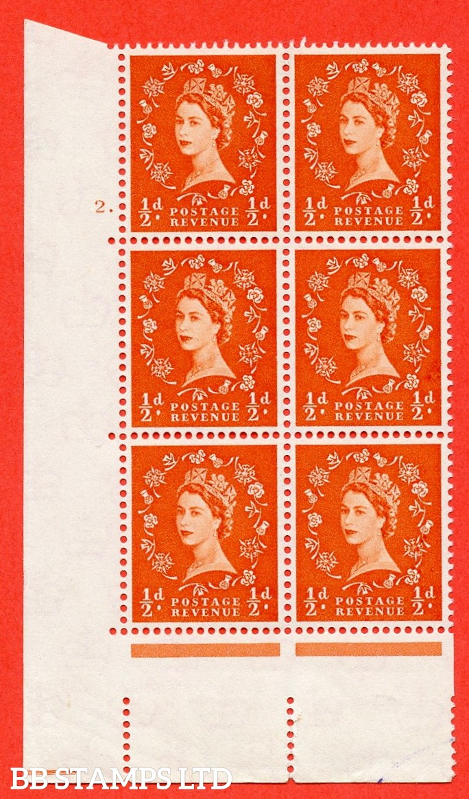 "SG. 570. S4 h. ½d Orange. A fine mounted mint "" cylinder 2 dot "" control block of 6 with perf type A E/I. CREAM paper. With the listed "" Major retouch (cyl. 2 Dot, R19/2) "" variety."