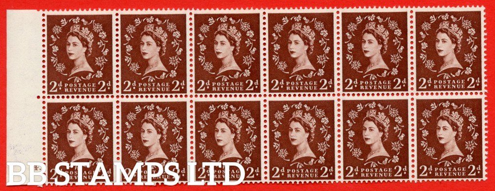 SG. 543. S37f. 2d. Red-brown. A superb UNMOUNTED MINTexample from cylinder 4 dot.Left marginal block of 12. With a tadpole flaw ERROR R. 17/6 variety.