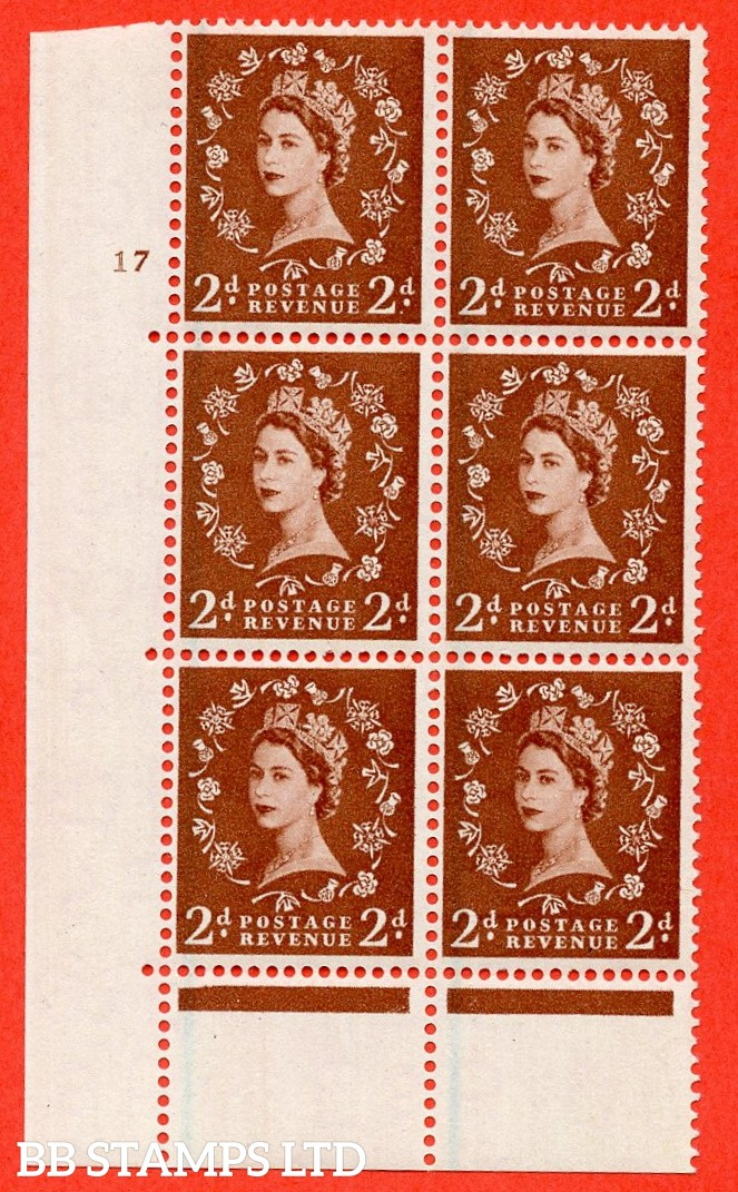 "SG. 563. S27. 2d Red - brown. A superb UNMOUNTED MINT "" cylinder 17 no dot "" control block of 6 with perf type C E/P."