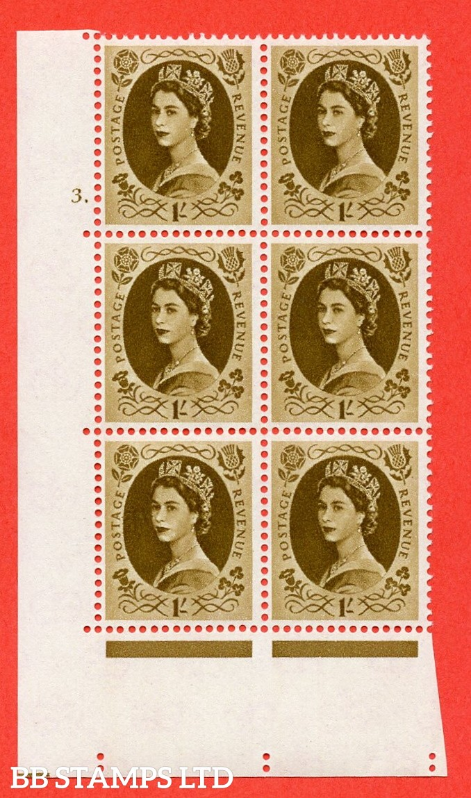 "SG. 584. S139. 1s Bistre-brown. A superb UNMOUNTED MINT "" cylinder 3 dot "" control block of 6 with perf type A E/I. WHITE paper."