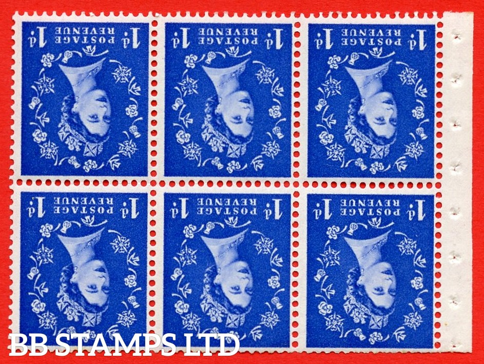SG. 516LWi. SB20a. 1d ultramarine. A fine UNMOUNTED MINT example. INVERTED WATERMARK. Complete Booklet pane of 6. Perf Type IS. Trimmed Perfs.