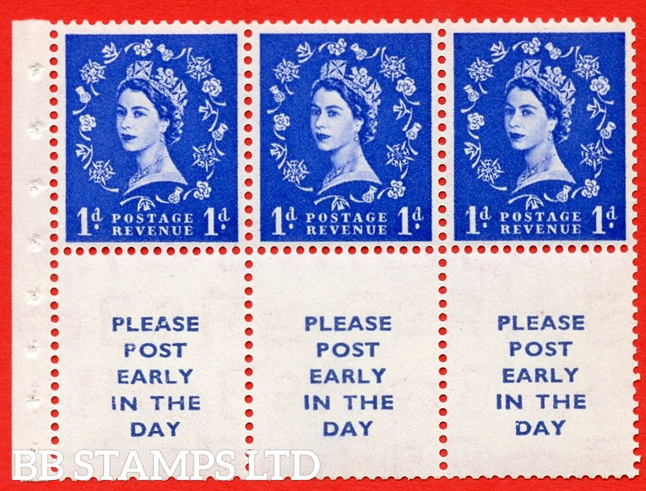 SG. 516. SB24c. 1d ultramarine. A UNMOUNTED MINT example. Complete booklet pane of 6. With a dot in serif ERROR. R.1/3 variety. Good perfs.