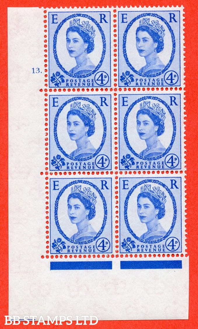 "SG. 576a. S85. 4d Deep Ultramarine. A superb UNMOUNTED MINT "" cylinder 13 dot "" control block of 6 with perf type A E/I. WHITE paper."