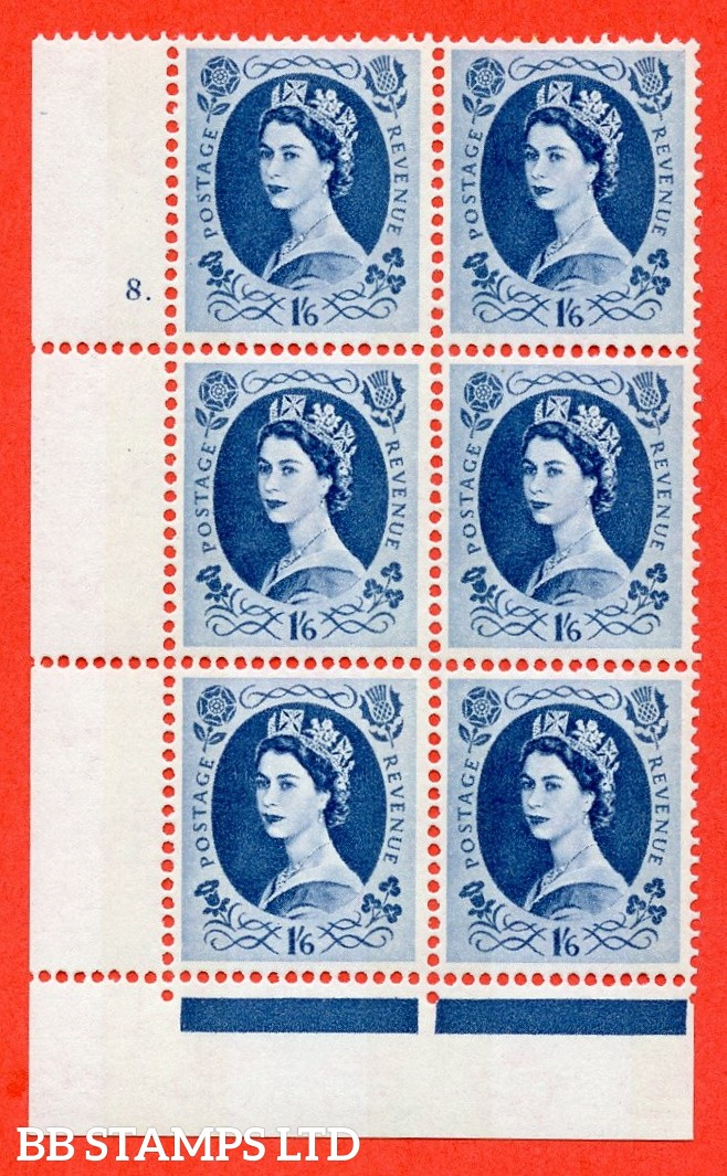"SG.618a. S154. 1/6d Grey Blue. A superb UNMOUNTED MINT "" cylinder 8 dot "" control block of 6 with perf type FL (P/E). violet Phosphor 9½mm"
