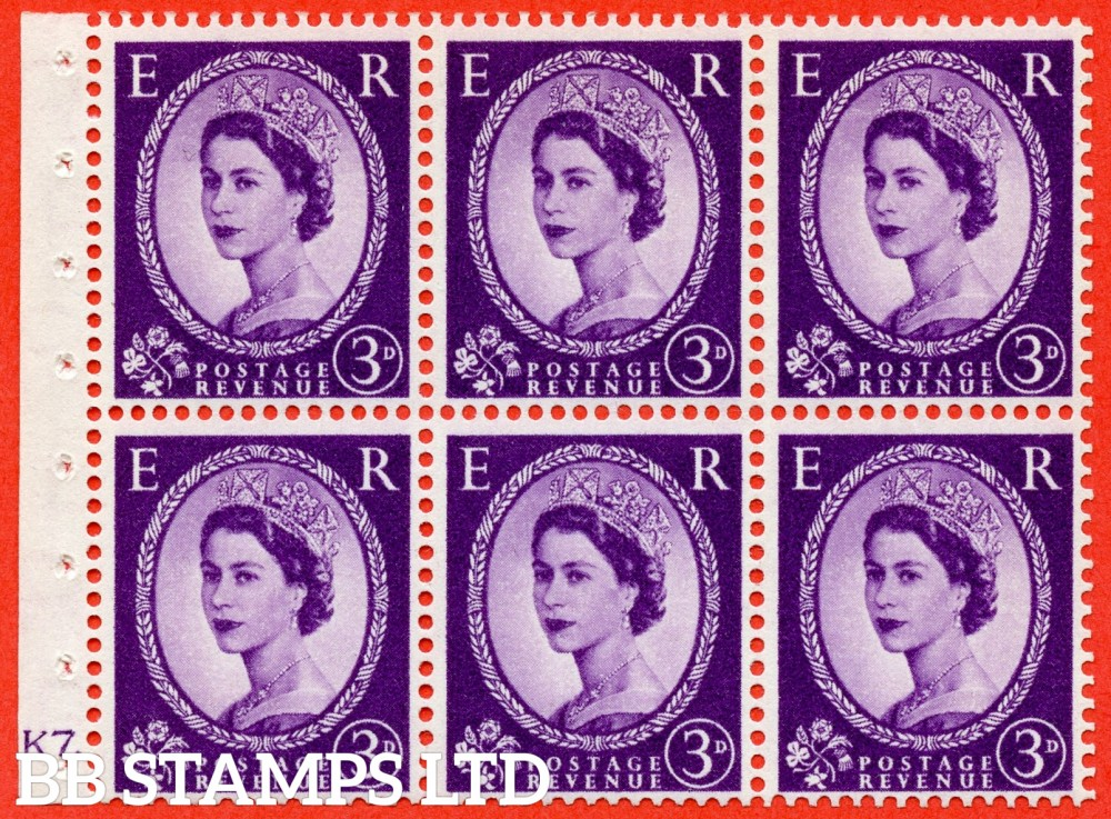 "SG. 545. SB90. 3d Deep Lilac. A fine UNMOUNTED MINT cylinder "" K7 dot "" booklet pane of 6. Perf type (Ieb) with GOOD PERFS. Smooth edge."