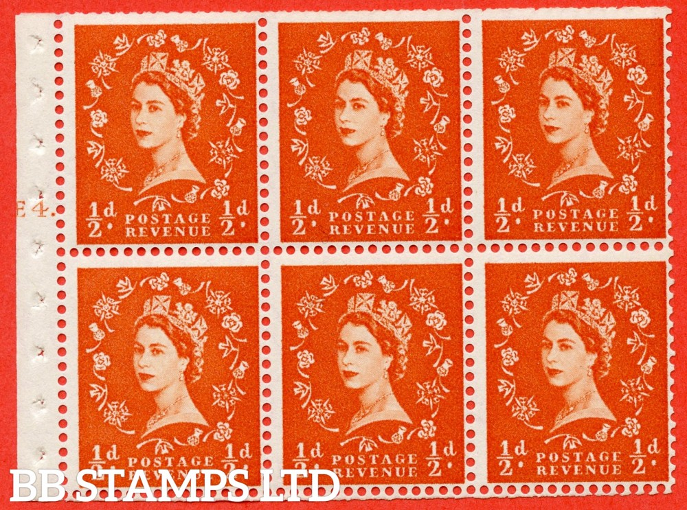 "SG. 540. SB4. ½d orange - red. A fine UNMOUNTED MINT cylinder "" E4 T dot "" booklet pane of 6. Perf type (Iet) with TRIMMED PERFS. Smooth edge."