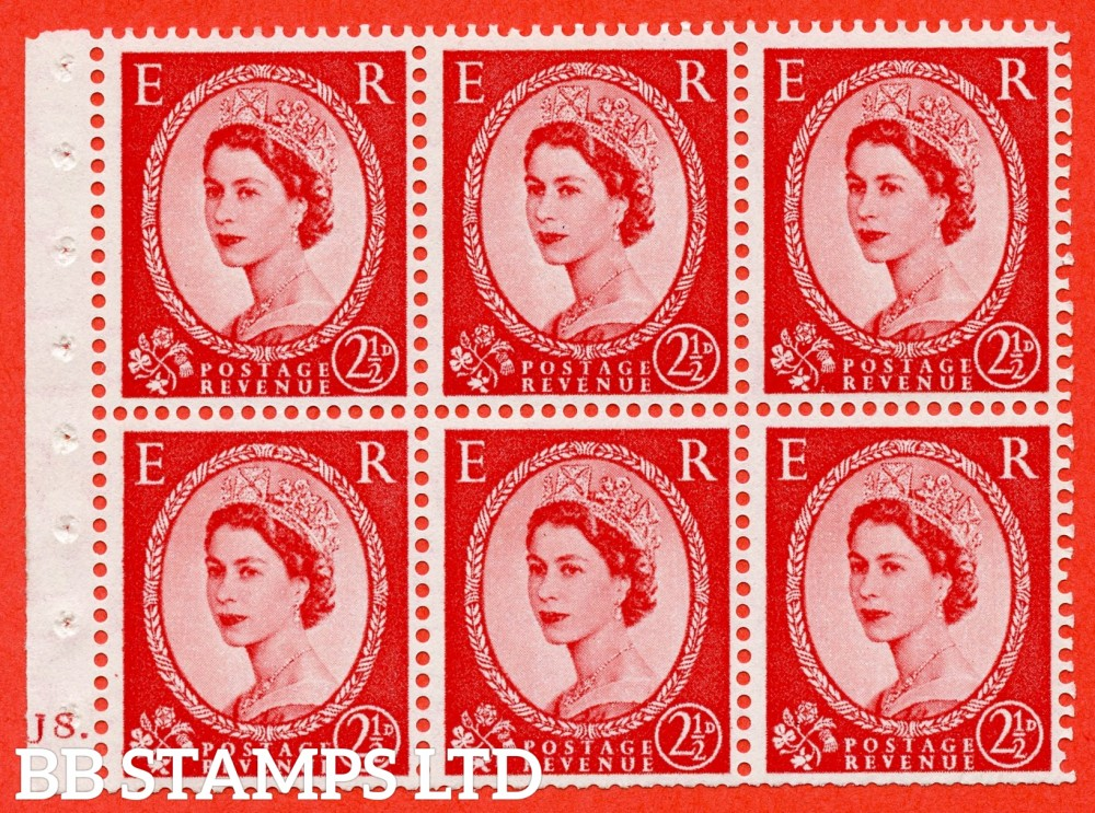 "SG. 544b. SB81. 2½d carmine - red. A fine UNMOUNTED MINT "" J8 dot "" booklet pane of 6. Perf type (Iet) with TRIMMED PERFS. Smooth edge"