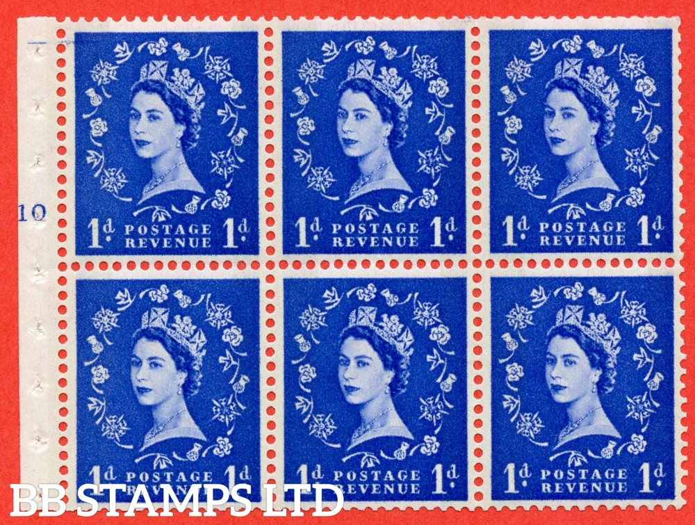 "SG. 611. SB41. 1d Ultramarine. A fine UNMOUNTED MINT cylinder "" F10 T no dot "" booklet pane of 6. Perf type (Iet) with GOOD PERFS. Smooth edge. Cream Paper."