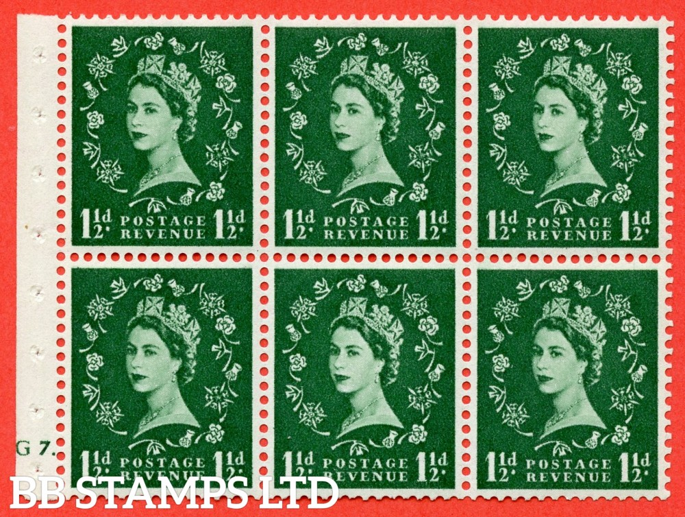"SG. 542. SB62. 1½d green. A fine mounted mint cylinder "" G7 dot "" booklet pane of 6. Perf type (Ieb) with TRIMMED PERFS. Smooth edge."