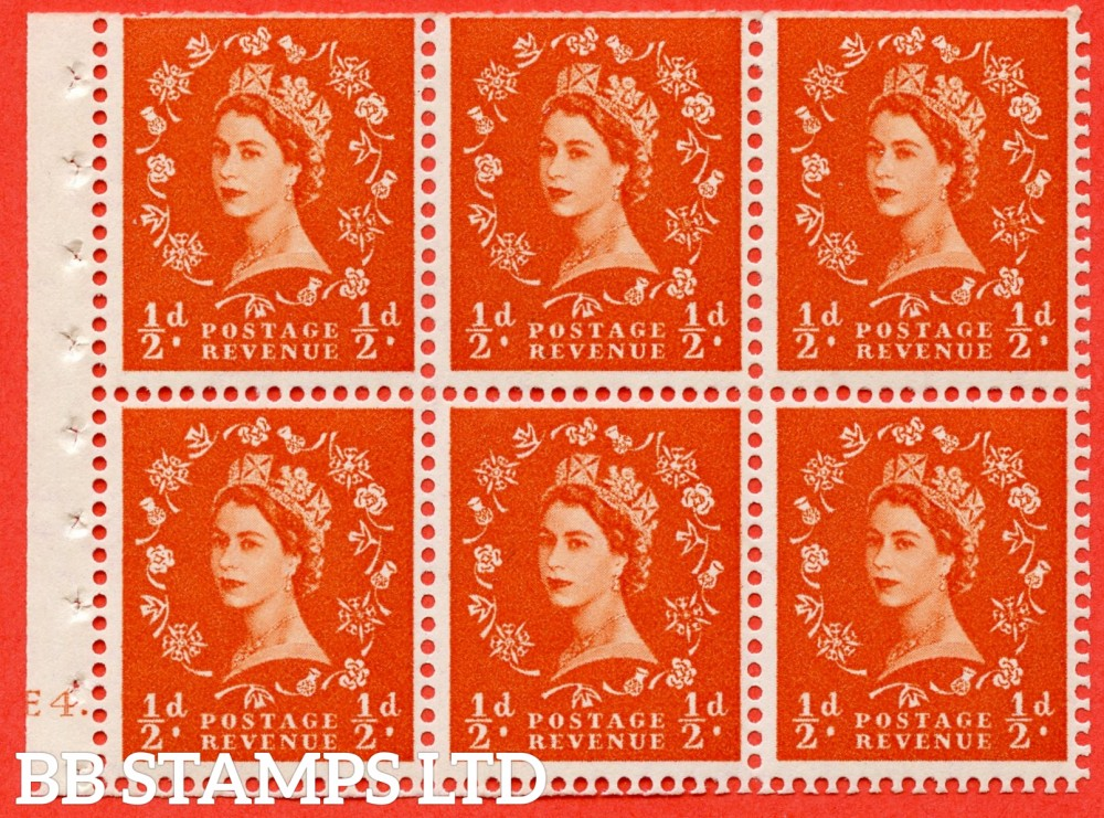 "SG. 515. SB1. ½d orange - red. A fine UNMOUNTED MINT cylinder "" E4 dot "" booklet pane of 6. Perf type (Ieb) with TRIMMED PERFS. Smooth edge."