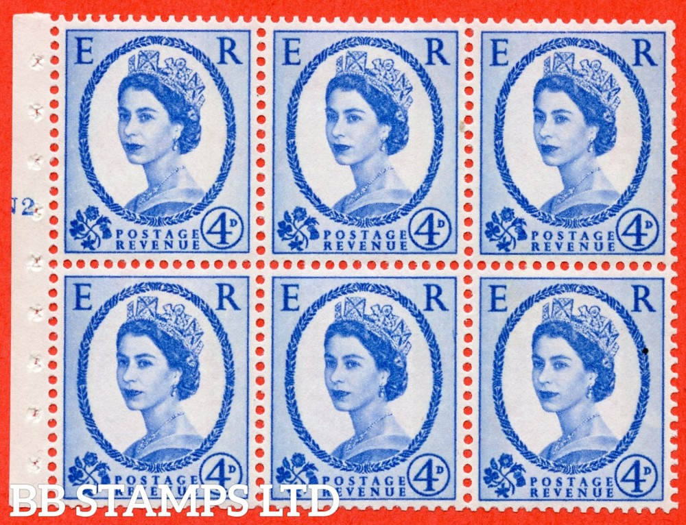 "SG. 616a. SB111. 4d Deep Ultramarine. A fine UNMOUNTED MINT cylinder "" N2 T No dot "" booklet pane of 6. Perf type (I) with GOOD PERFS. Smooth edge."