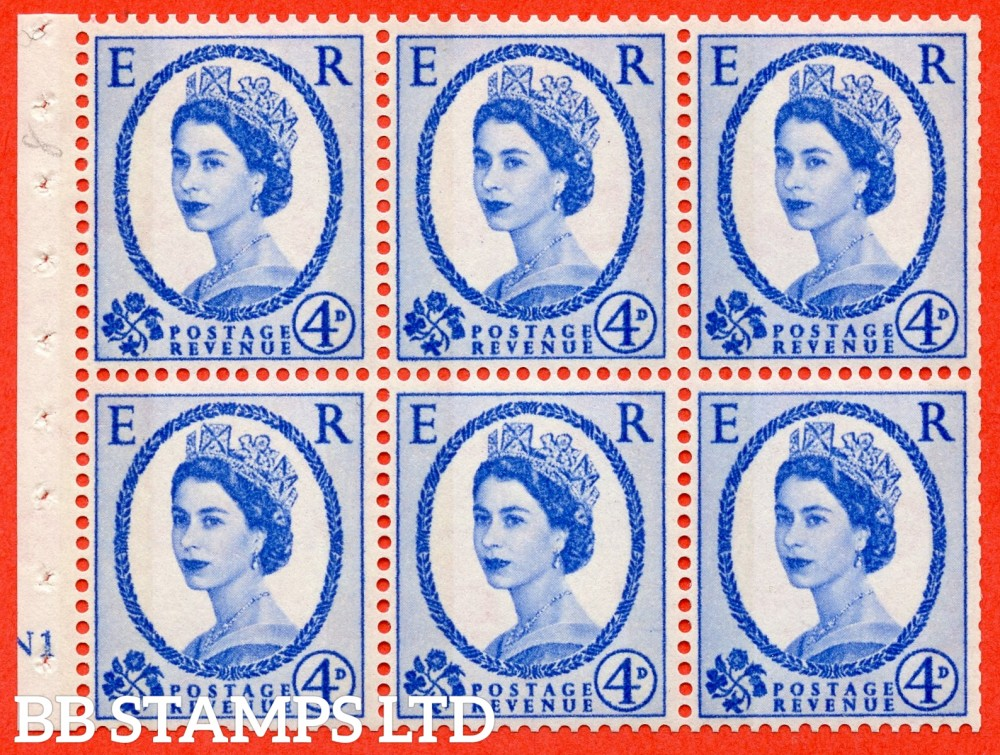"SG. 616a. SB109. 4d Deep Ultramarine. A fine mounted mint cylinder "" N1 no dot "" booklet pane of 6. Perf type (I) with TRIMMED PERFS. Smooth edge. White Paper."