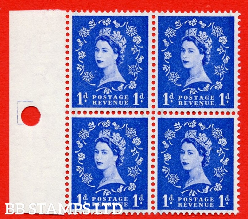 SG. 562. S15b. 1d Ultramarine. A superb UNMOUNTED MINT example. Left marginal positional Block of 4. With a Daffodil stem flaw. ERROR. R.15/2 variety.
