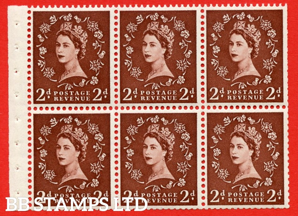 SG. 518. SB76. 2d red - brown. A fine MOUNTED MINT booklet pane of 6. Perf type (IR) with Trimmed PERFS.