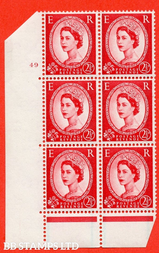 "SG. 606. S60. 2½d Carmine - red. A fine mounted mint "" cylinder 49 no dot "" control block of 6 with perf type C E/P."