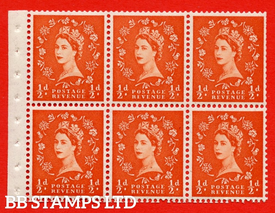 SG. 515. SB1. ½d orange - red. A fine UNMOUNTED MINTexample. Complete Booklet pane of 6. Perf Type IS. Trimmed perfs