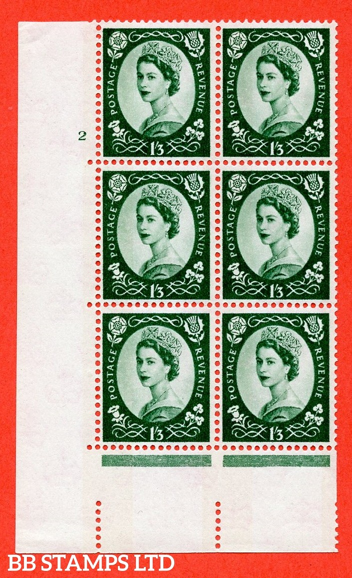 "SG.618. S147. 1/3d Green. A superb UNMOUNTED MINT "" cylinder 2 no dot "" control block of 6 with perf type A (E/I). Blue Phosphor White paper."