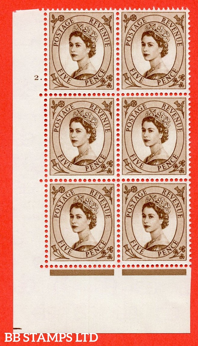 "SG. 578 S101. 5d Brown  A superb UNMOUNTED MINT "" cylinder 2 dot "" control block of 6 with perf type A (E/I)."