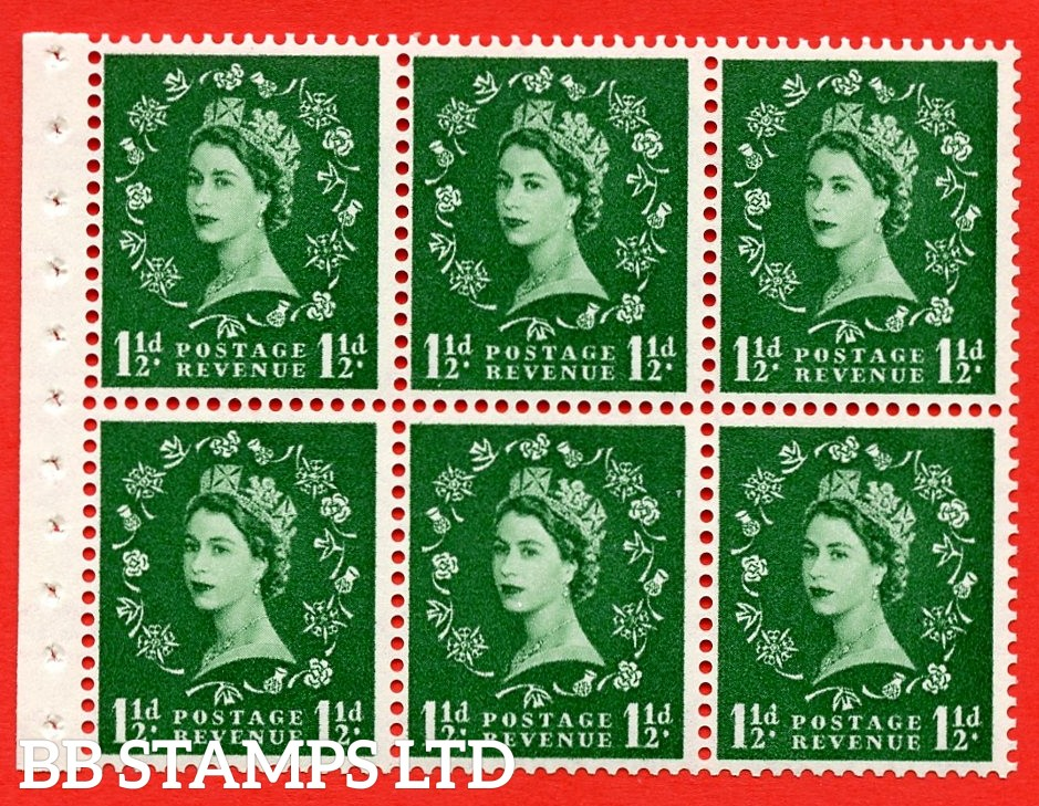 SG. 517. SB59. 1½d green. A fine UNMOUNTED MINT complete booklet pane of 6. Perf type (IS) with Good PERFS.