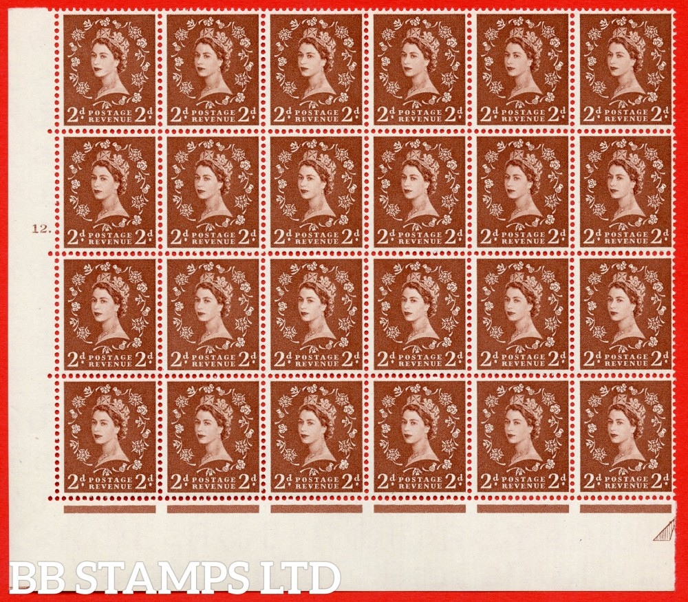 SG. 543b. S38h. 2d. Light Red-brown. A superb UNMOUNTED MINT example from cylinder 12 dot. corner marginal positional Block of 24. With a Tadpole and shamrock flaws ERROR R.17/6 variety.