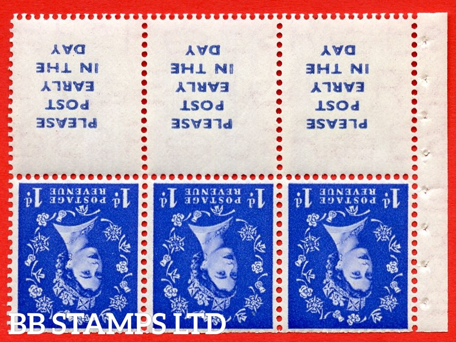 SG. 516Lawi. SB24a. 1d ultramarine. A fine UNMOUNTED MINT. WATERMARK INVERTED. Complete booklet pane of 6. Perf type (IS) with Trimmed PERFS.