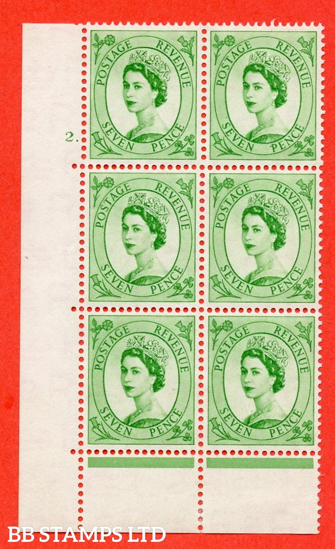 "SG. 524. S114. 7d Bright Green. A fine mounted mint "" cylinder 2 dot "" control block of 6 with perf type C E/P."