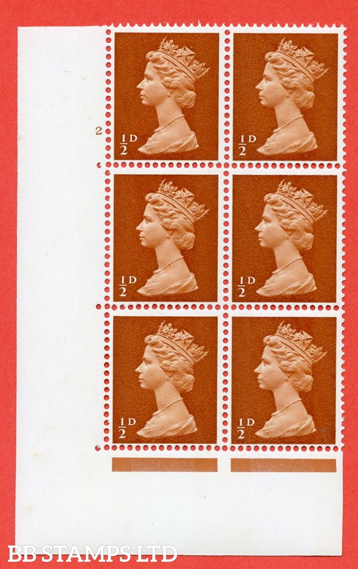 "SG. 723. U1. ½d orange brown A superb UNMOUNTED MINT "" cylinder 2 no dot "" control block of 6 with perf type A E/I. PVA gum. Head A."