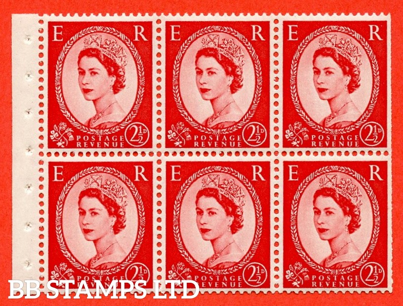 SG. 519 L. SB80. 2½d carmine - red. A fine UNMOUNTED MINT. Complete booklet pane of 6. Perf type (Ieb) with Trimmed PERFS.