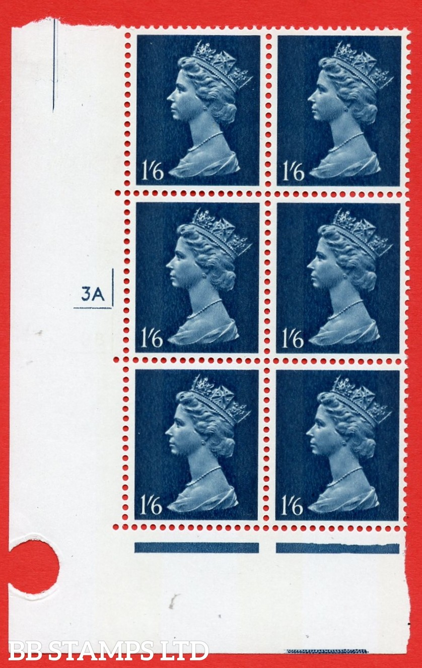"SG. 743va. U28 (1) a. 1/6 Greenish blue OMITTED ERROR.  A superb UNMOUNTED MINT "" cylinder 3A (2B OMITTED)"" control block of 6 with perf type A E/I. PVA gum. Head A."