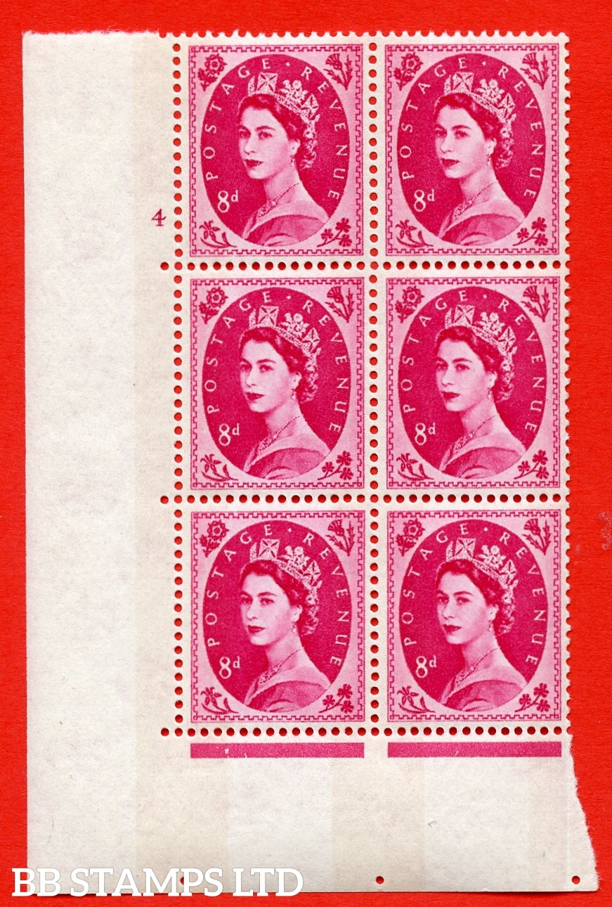 "SG.617b. S123. 8d Magenta. A superb UNMOUNTED MINT "" cylinder 4 no dot "" control block of 6 with perf type A (E/I). violet Phosphor 9½mm Band. Variety of white flaw on diadem."