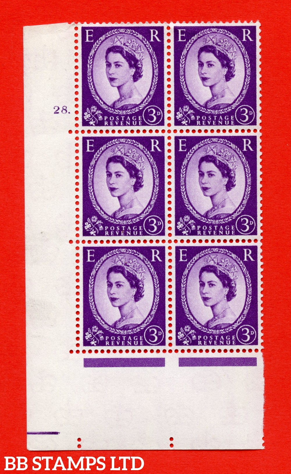 "SG. 575. S70. 3d Deep lilac.Type I. A superb UNMOUNTED MINT "" cylinder 28 dot "" control block of 6 with perf type A E/I. CREAM paper."