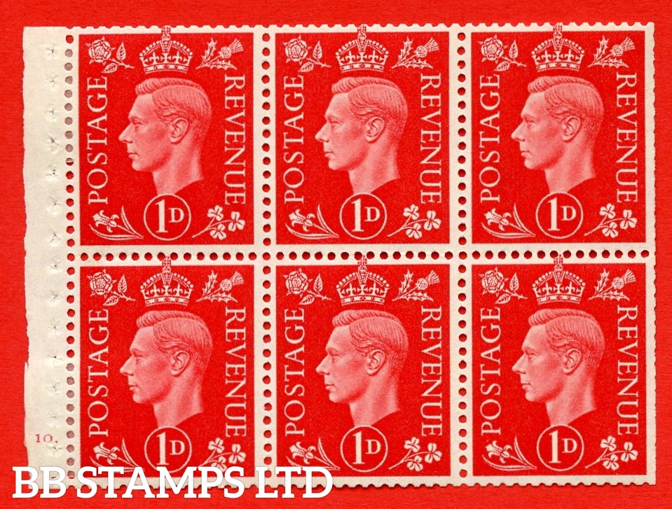 SG. QB10 Perf Type B4A(I) 1d Scarlet x 6 Pane, MOUNTED MINT Watermark Upright. Cylinder Pane F10 dot ( SG. 463b ) Perf Type B4A(I). Trimmed Perfs.