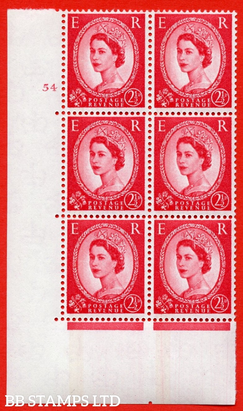 "SG.614a. S65. 2½d Carmine red. LB Photo.  A superb UNMOUNTED MINT "" cylinder 54 no dot "" control block of 6 with perf type A (E/I). Blue Phosphor White paper"