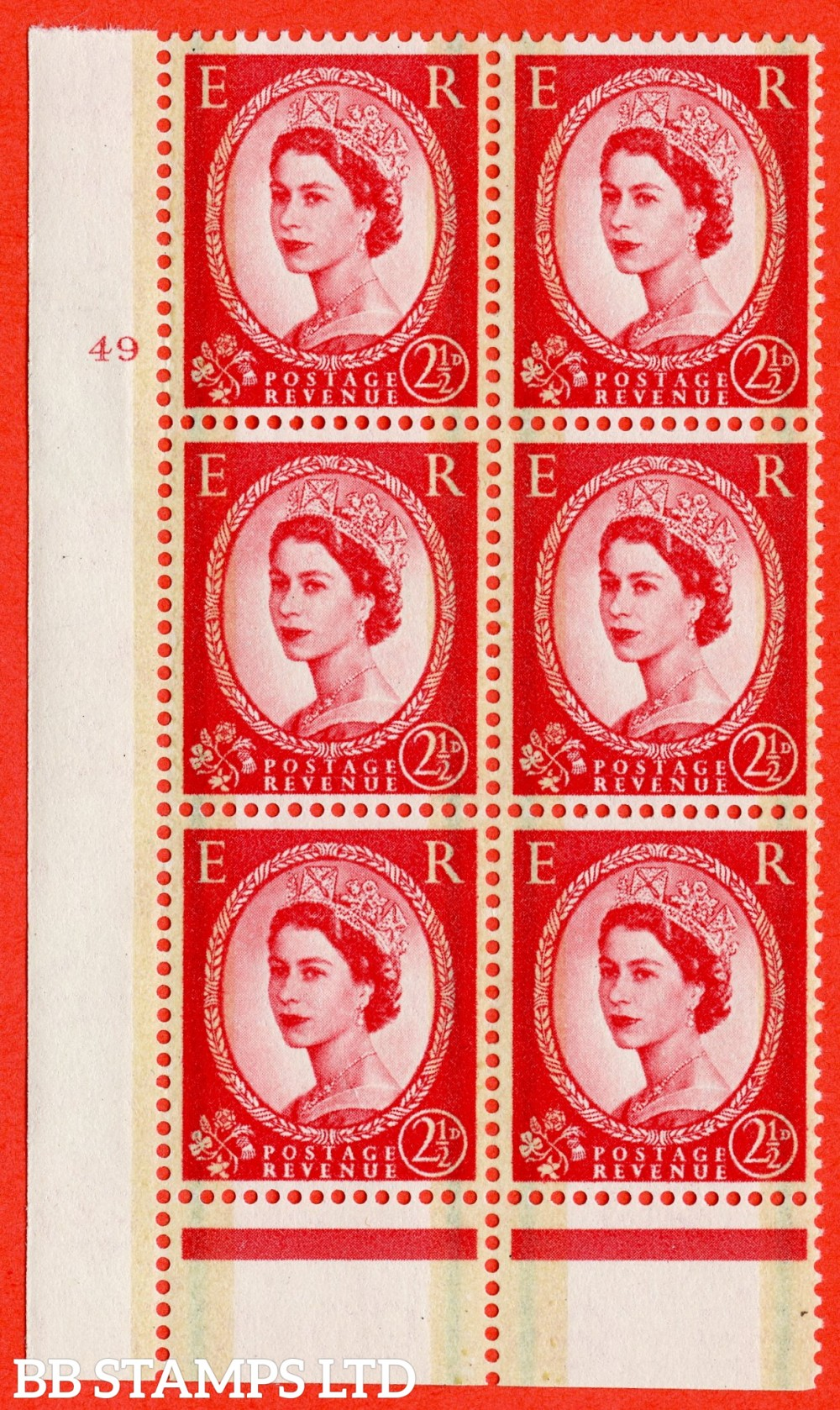 "SG. 606. S60. 2½d Carmine - red. A fine lightly mounted mint "" cylinder 49 no dot "" control block of 6 with perf type B I/P."
