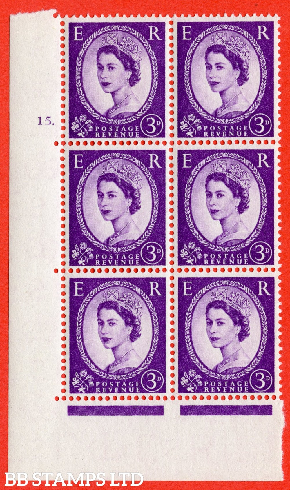 "SG. 545. S68. 3d. Deep - Lilac. A fine lightly mounted mint "" cylinder 15 dot "" control block of 6 with perf type A E/I."
