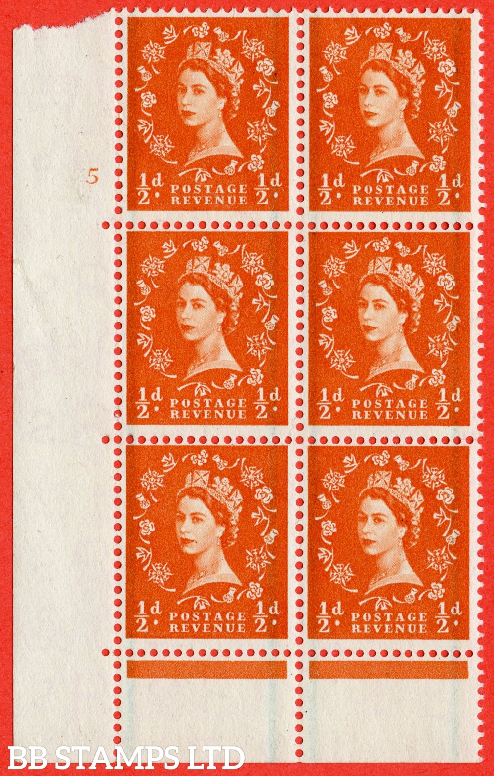 "SG. 561. S3. ½d Orange - Red. A fine mounted mint "" cylinder 5 no dot "" control block of 6 with perf type C E/P."