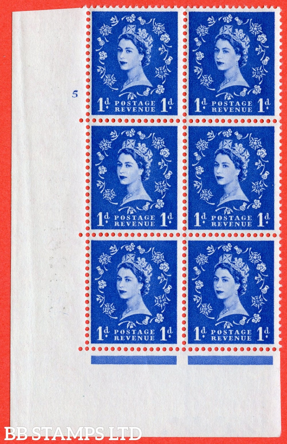 "SG. 571. S17. 1d Ultramarine. A superb UNMOUNTED MINT "" cylinder 5 no dot "" control block of 6 with perf type A E/I. WHITE paper."