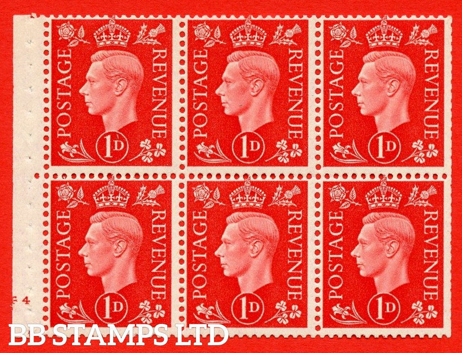SG. QB10 Perf Type B4(E) 1d Scarlet x 6 Pane, MOUNTED MINT Watermark Upright. Cylinder Pane F4 no dot ( SG. 463b ) Perf Type B4(E). Trimmed Perfs.