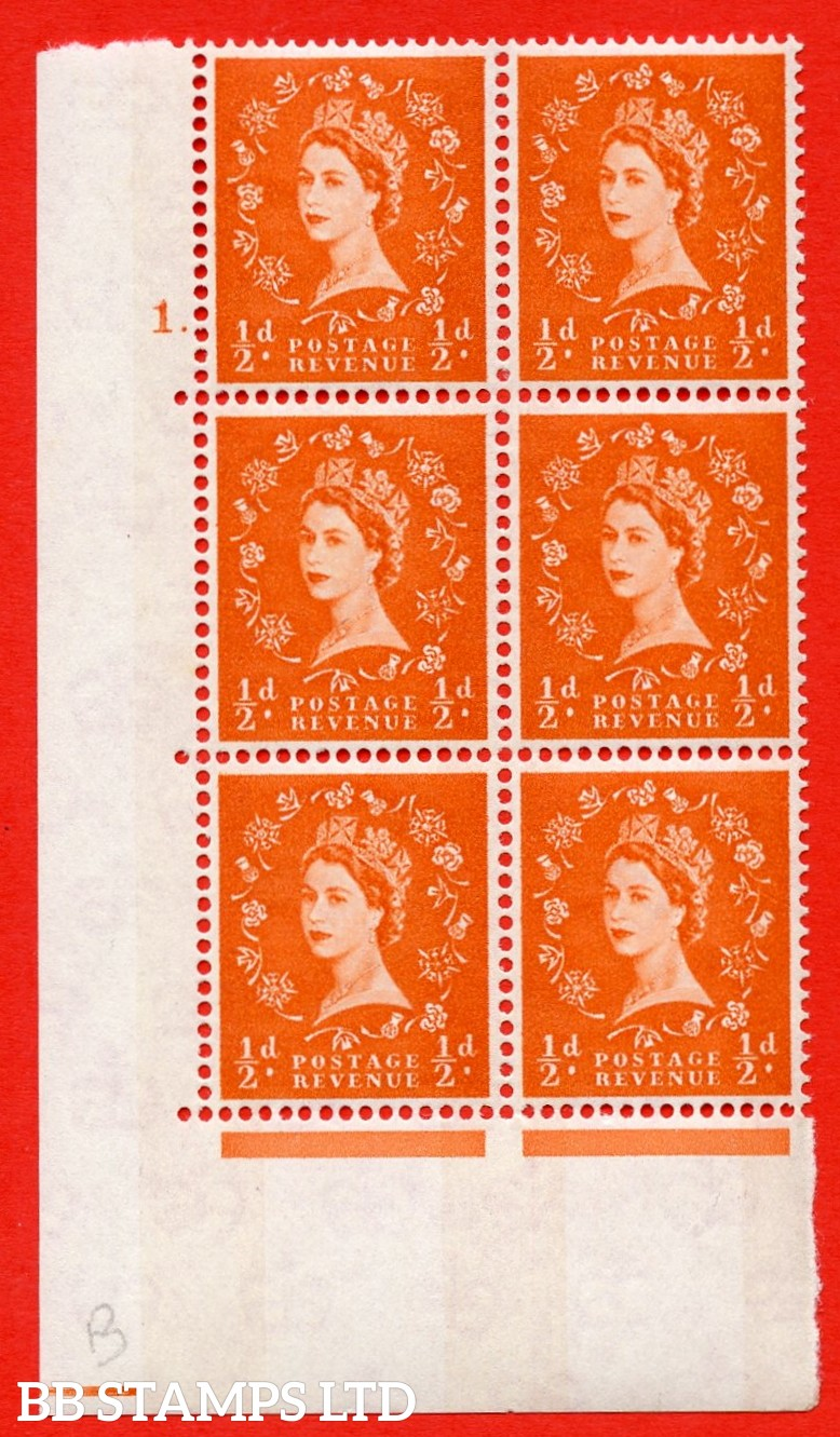 "SG.610. S11. ½d  Orange red. A superb UNMOUNTED MINT "" cylinder 1 dot "" control block of 6 with perf type A (E/I). Blue Phosphor White paper."