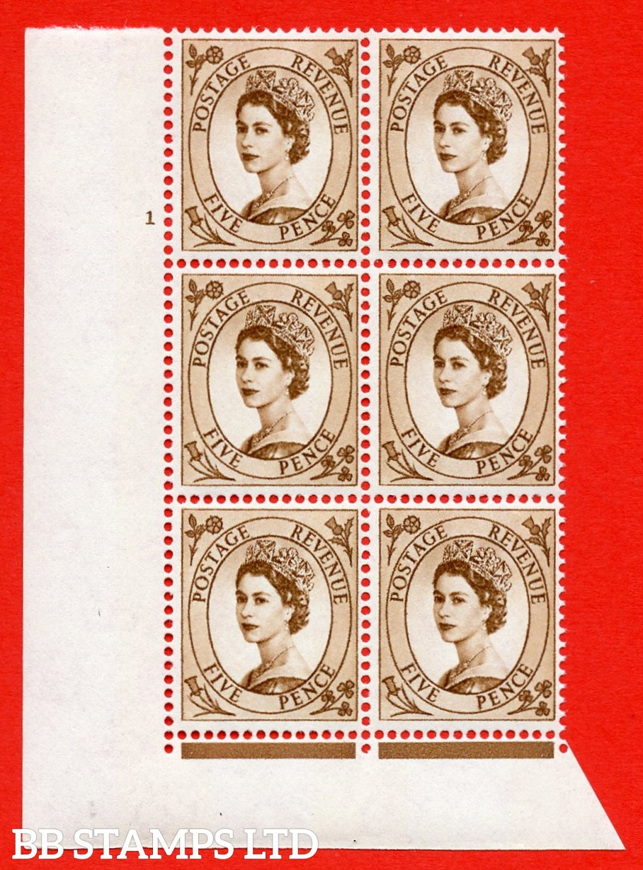 """SG.616c. S103. 5d Deep Brown. A superb UNMOUNTED MINT """" cylinder 1 no dot """" control block of 6 with perf type FL (I/E). violet Phosphor 9½mm Band."""