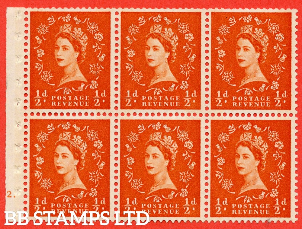 "SG. 610. SB16. ½d Orange Red. A fine mounted mint cylinder "" E12 dot "" booklet pane of 6. Perf type (Ieb) with TRIMMED PERFS. Smooth edge. Cream Paper."