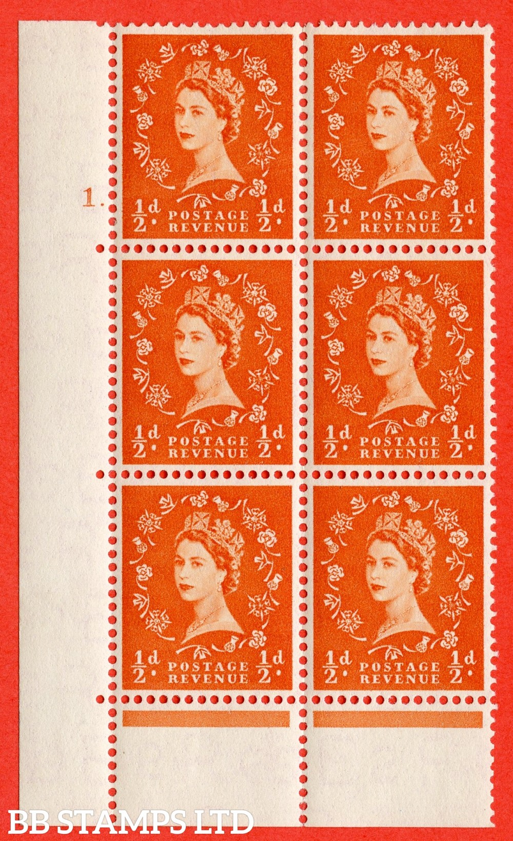 "SG. 540. S2. ½d. Orange-red. A fine lightly mounted mint "" cylinder 1 dot "" control block of 6 with perf type C E/P."