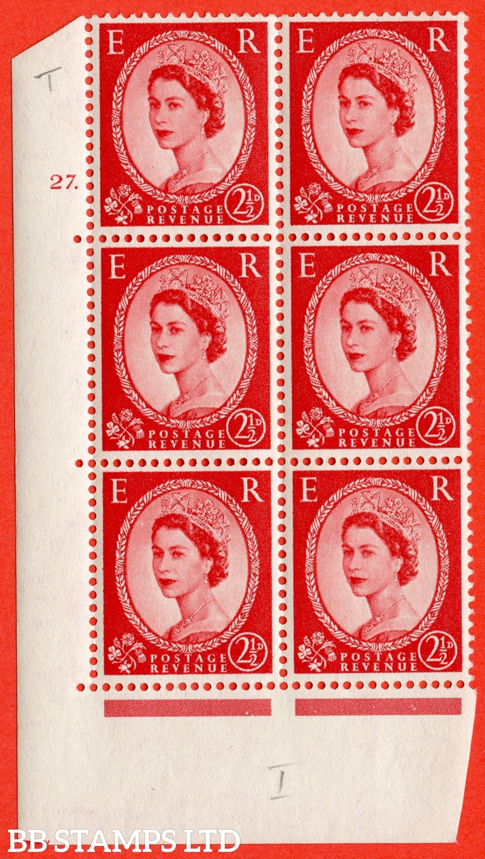 """SG. 519. S50. 2d Red-Brown. A superb UNMOUNTED MINT """" cylinder 25 dot """" control block of 6 with perf type A E/I."""