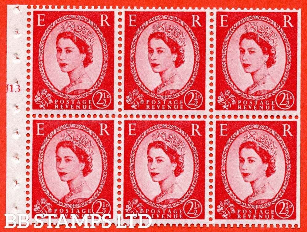 "SG. 574. SB83. 2½d Carmine Red Type II. A fine UNMOUNTED MINT cylinder "" J13 T no dot "" booklet pane of 6. Perf type (I) with TRIMMED PERFS. Smooth edge. White paper."