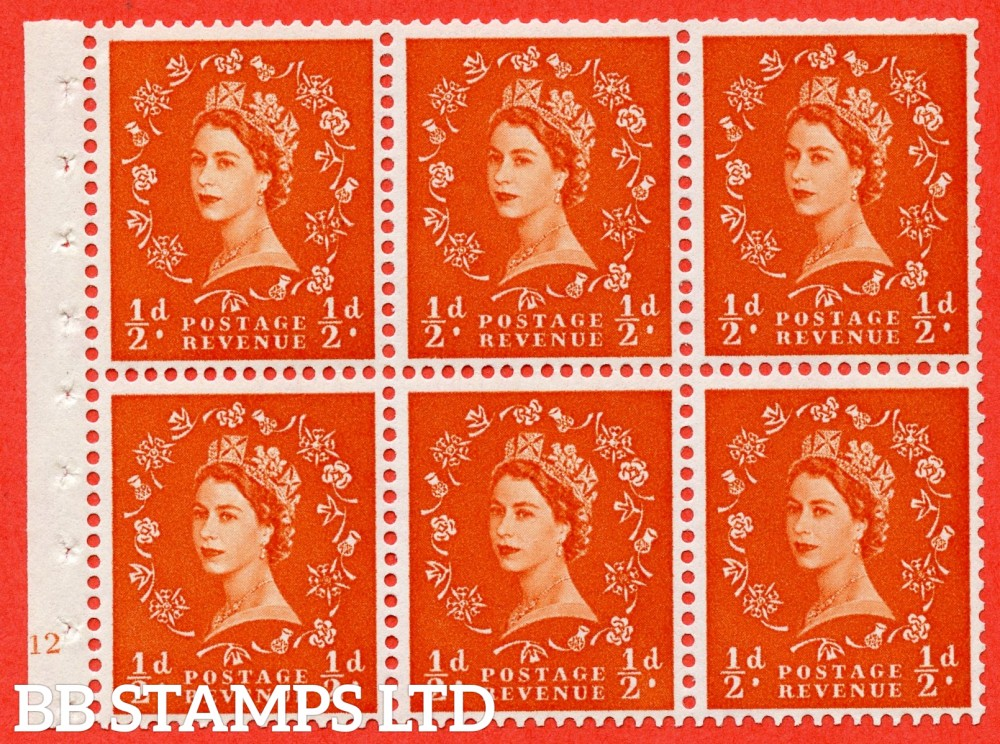 "SG. 570. SB7. ½d orange - red. A fine UNMOUNTED MINT cylinder "" E12 no dot "" booklet pane of 6. Perf type (I) with TRIMMED PERFS. Smooth edge. Cream paper."