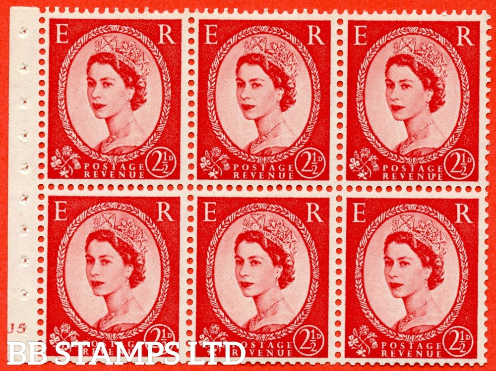 "SG. 544b. SB81. 2½d carmine - red. A fine UNMOUNTED MINT cylinder "" J5 no dot "" booklet pane of 6. Perf type (I) with GOOD PERFS. Smooth edge."
