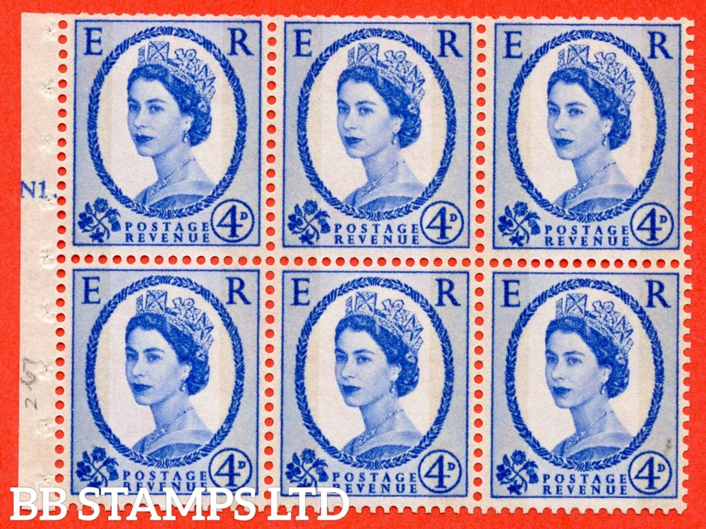 "SG. 616a. SB111. 4d Deep Ultramarine. A fine mounted mint cylinder "" N1 T No dot "" booklet pane of 6. Perf type (Ieb) with TRIMMED PERFS. Smooth edge."