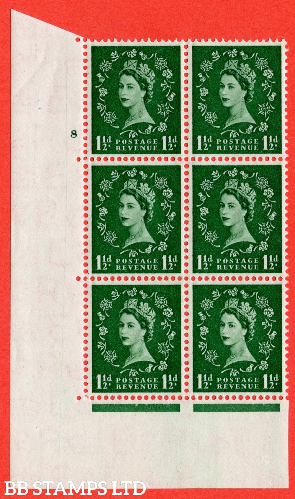 "SG. 517. S25. 1½d Green. A superb UNMOUNTED MINT "" cylinder 8 no dot "" control block of 6 with perf type A E/I."