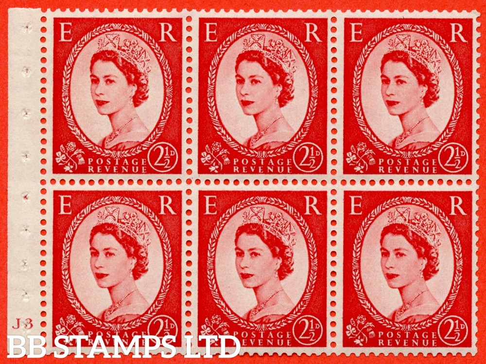 "SG. 519 b. SB80. 2½d carmine - red. A fine mounted mint cylinder "" J3 no dot "" booklet pane of 6. Perf type (I) with TRIMMED PERFS. Smooth edge."